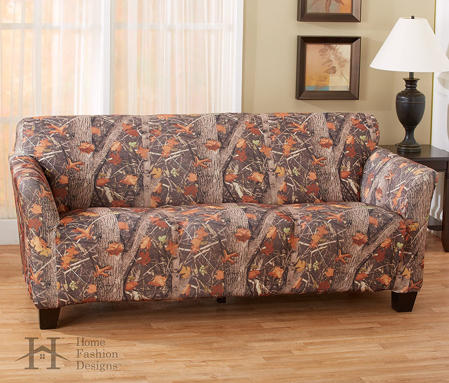 Kings Camo Woodland Shadow Printed Strapless Slipcover. Form Fit, Slip Resistant, Stylish Furniture Shield   Predector. By Home Fashion Designs Brand. (Sofa)