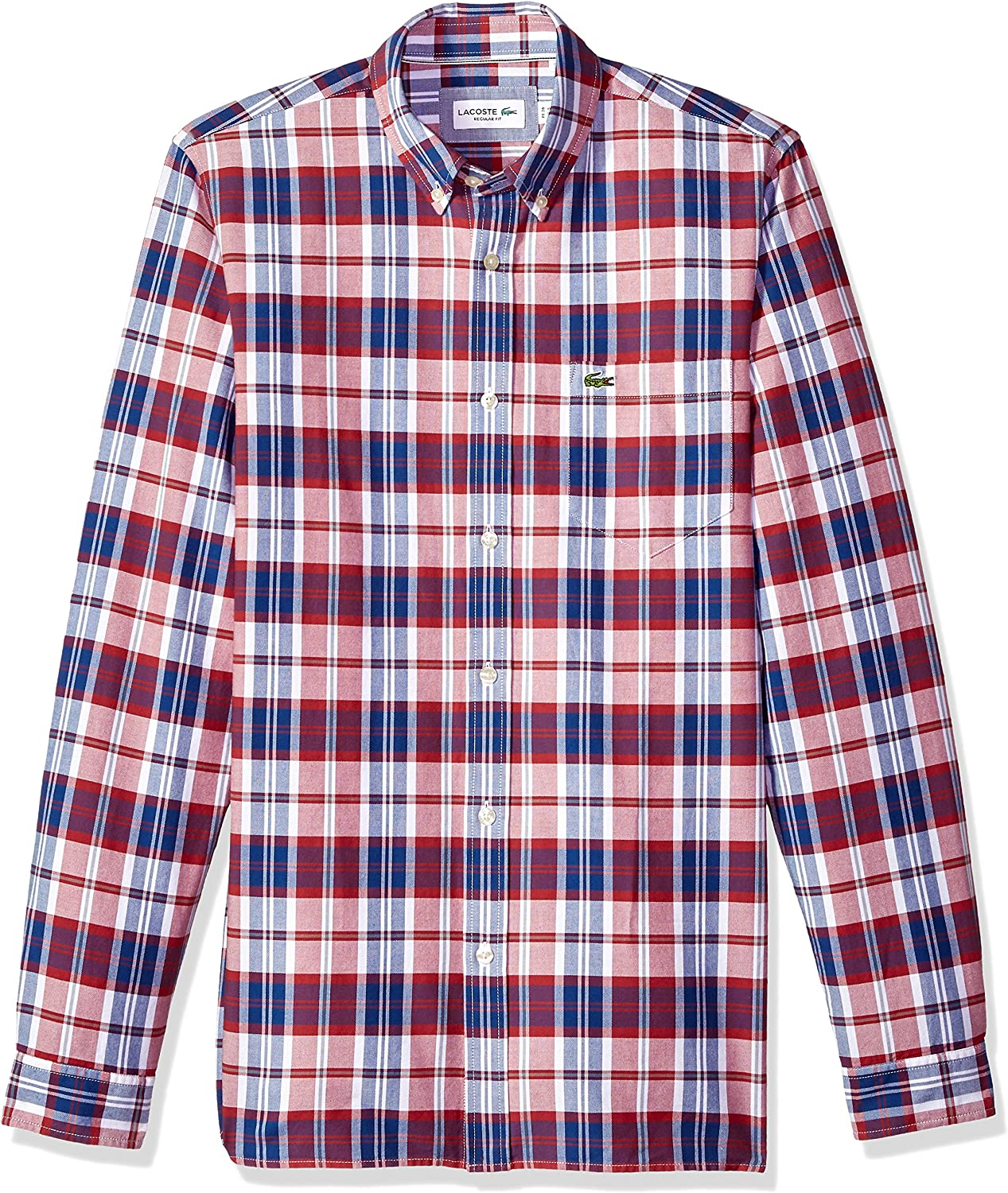 Lacoste Long Sleeve Oxford Checked Button Down Collar Reg Fit, CH5811