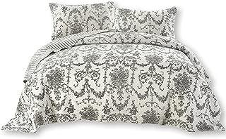 DaDa Bedding Collection Victorian Candelabra Elegant Damask Jacquard Quilted Coverlet Bedspread Set - Bright Vibrant Floral Black & White Print - King - 3-Pieces.