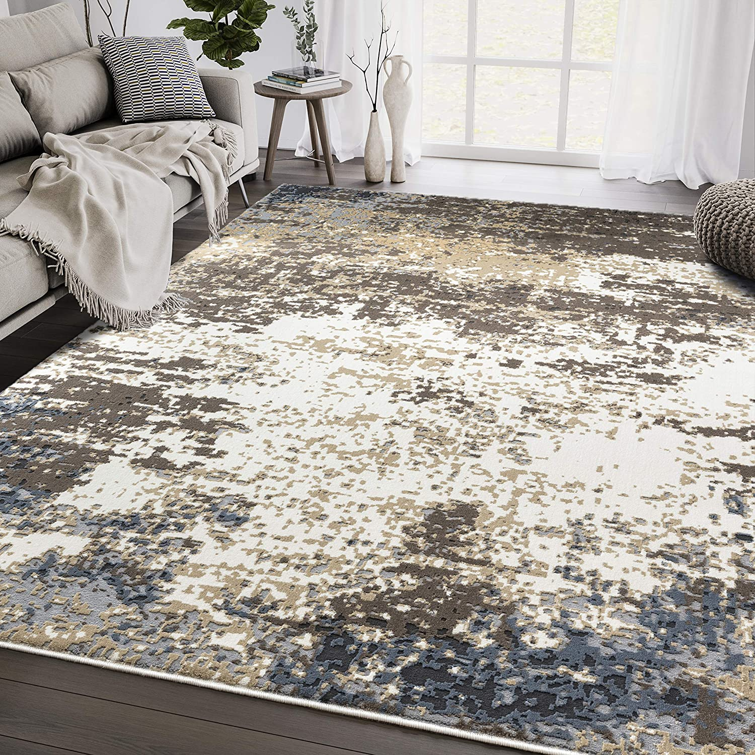 Distressed Turkish Area Rug Max 77% OFF Aspen Blue low-pricing Collection Brown Abstr