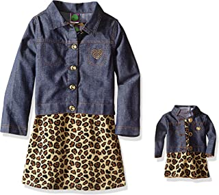 Dollie & Me Girls' Texture Moto Jacket with Knit to Plaid Dress