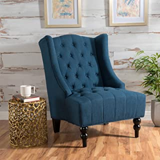 Christopher Knight Home 299877 Clarice | Tall Wingback Fabric Accent Chair | Perfect for Living Room, Dark Blue