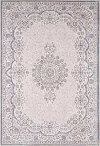 Adiva Rugs Machine Washable Area Rug for Living Room, Bedroom, Bathroom, Kitchen, Printed Persian Vintage Home Decor, Floor Decoration Carpet Mat (Cream, 6'-6