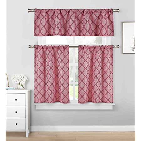 3 Piece Cafe Tiers Kitchen Window Curtain Set Moroccan Trellis Design One Valance Two Tiers Burgundy And Garnet Home Kitchen