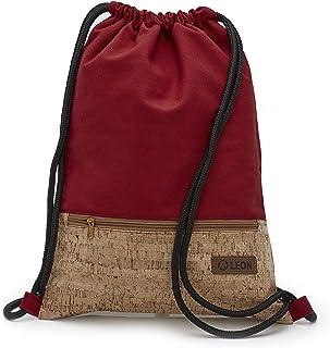 By Bers LEON Turnbeutel mit Innentaschen in Kork oder Schlange -DesignRucksack Tasche Damen Herren & Teenager Gym Bag Draw String Kork_Rot