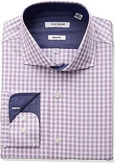 Men's Slim Fit Check Cut Away Collar Dress Shirt
