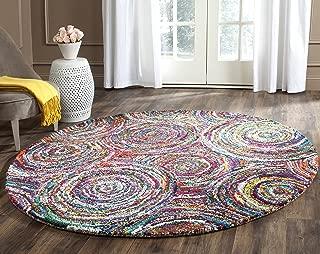 Safavieh Nantucket Collection NAN514A Handmade Abstract Circles Multicolored Cotton Round Area Rug (6' Diameter)
