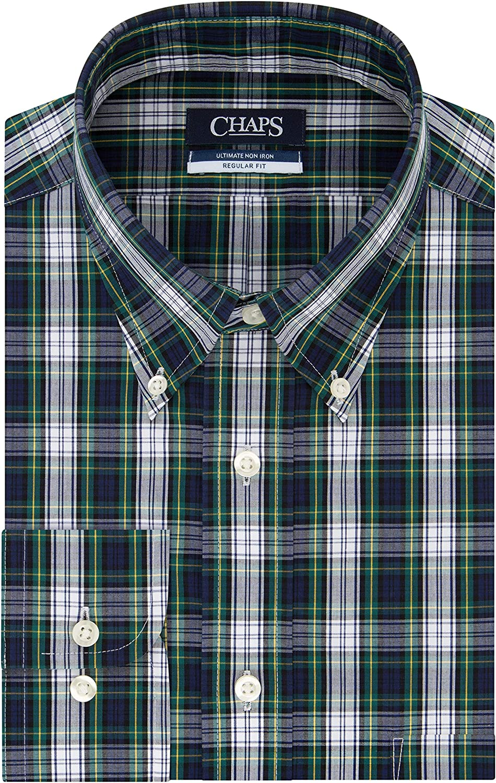 Chaps Men's Dress Shirt ラッピング無料 Regular Fit Check Stretch 高価値