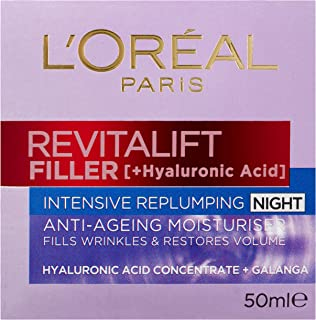 L'Oréal Paris Revitalift Filler Replumping Night Cream, with Hyaluronic Acid, Dermatologically Tested, 50ml