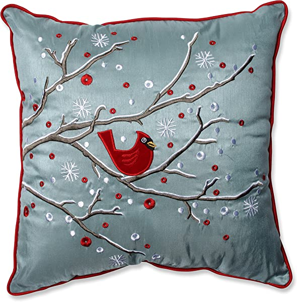 Pillow Perfect Holiday Cardinal On Snowy Branch Throw Pillow 16 5 X 16 5 Silver Red