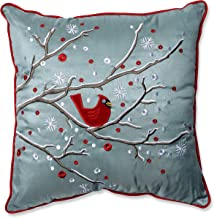 Pillow Perfect Holiday Cardinal on Snowy Branch Throw Pillow, 16.5 x 16.5, Silver/Red