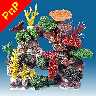 Instant Reef DM037PNP Large Artificial Coral Inserts Decor, Fake Coral Reef Decorations for Colorful Freshwater Fish Aquariums, Marine and Saltwater Fish Tanks