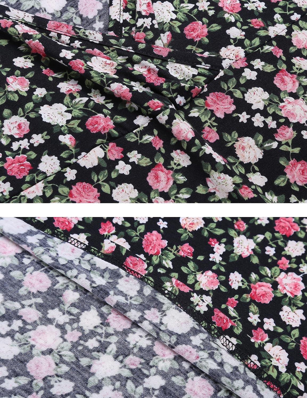 manga corta y manga larga Beyove Vestido de punto para mujer con dise/ño de flores cuello en V