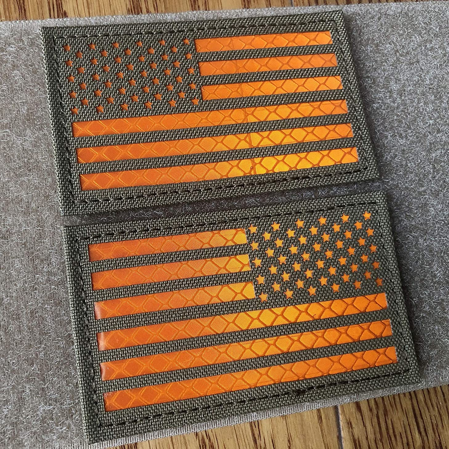2x3.5 Inch Coyote Brown Tan Reflective US USA American Flag Patch Tactical Vest Patch Hook-Fastener Backing (Orange) (Forward and Reversed)