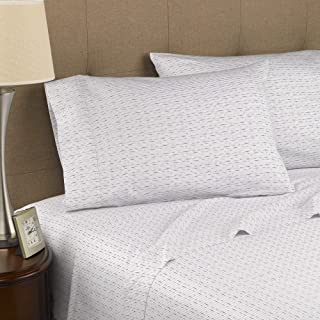 Strick & Bolton Fitzgerald 300 Thread Count Certified Organic Sheet Set White Dotted Line Queen 4 Piece