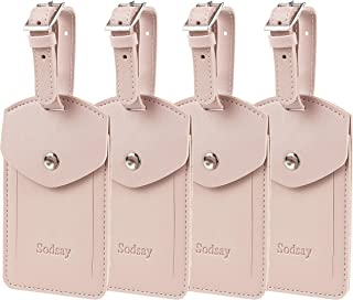 Leather 4 Luggage Tag Baggage Bag Travel Tags with Privacy Flap (Arya Pink Lotus)