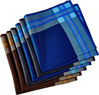 Men's Handkerchiefs,100% Cotton 6 Piece Gift Set (Set 008)