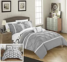 Chic Home Marcia 3 Piece Reversible Comforter Set Super Soft Microfiber Pinch Pleated Ruffled Design with Geometric Patterned Print Bedding with Decorative Pillows Shams, Twin Grey