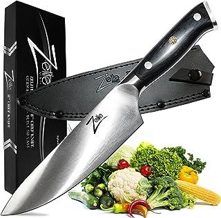 Zelite Infinity Cuchillos Cocina Cuchillo de Chef 20cm – Serie Alemana Alpha-Royal – Cuchillos Cocina Profesional Acero Inoxidable Alemán – Cuchillos Japoneses con Mango de Pakkawood y Funda de Cuero