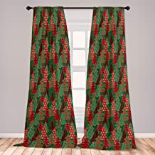 Ambesonne Christmas 2 Panel Curtain Set, Abstract Pines with Swirls Dots Lines Design Patchwork Style Print, Lightweight Window Treatment Living Room Bedroom Decor, 56