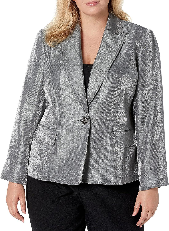 Kasper Women's 1 Button Notch Collar Metallic Jacket