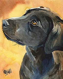 "Black Labrador Retriever Art Print | Black Lab Gifts | From Original Painting by Ron Krajewski | Hand Signed Artwork in 8x10"" and 11x14"" Sizes"