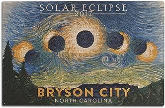 Lantern Press Bryson City, North Carolina - Starry Night - Solar Eclipse 2017 (10x15 Wood Wall Sign, Wall Decor Ready to Hang)