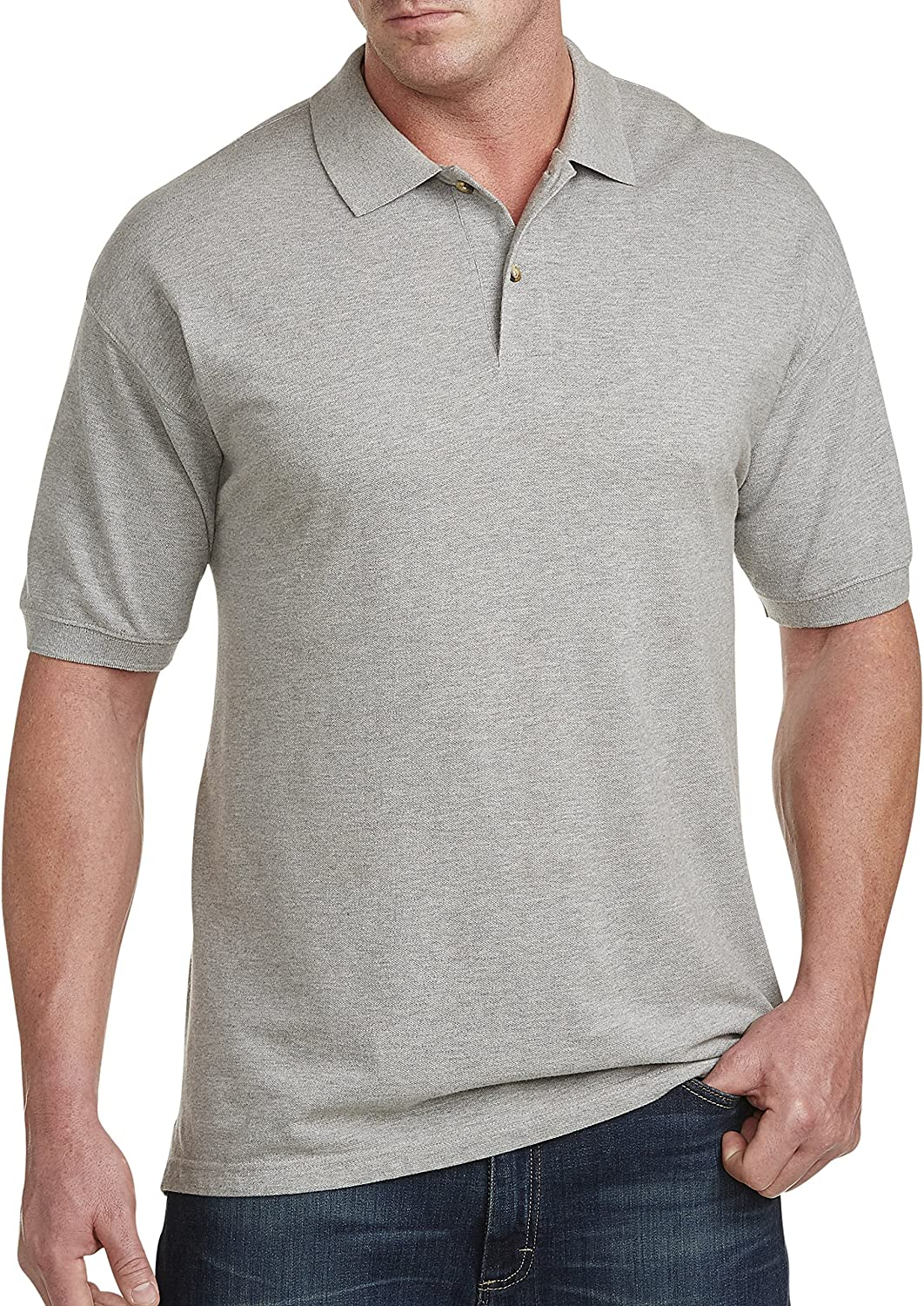 Harbor Bay by DXL Big and Grey Piqué Soldering Tall Limited time sale Heather Shirt Polo