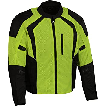 Medium Milwaukee Leather Performance MPM1793 Mens Black Mesh Racer Jacket with Reflective Piping