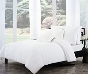 Tahari Bedding Solid White Textured Stripes Duvet Cover Set Full / Queen 3 Piece Boho Ruffled Ruched French Farm House Shabby Chic Folded Pattern Quilt Comforter Cover