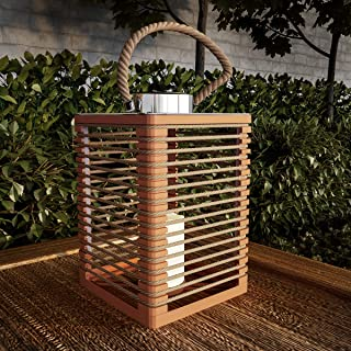 Pure Garden 50-LG1085 Solar Powered LED Outdoor/Indoor Flickering Flameless Candle Lantern Decorative Light with Rope Accents (Natural)