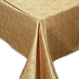 """QUEENSHOW Polyester 84 Inch Rectangular Tablecloth Desk Table Cover Cloth for Kitchen Dinning Tabletop with Rosette Bloom Pattern, Brown Beige 54"""" x 84"""""""