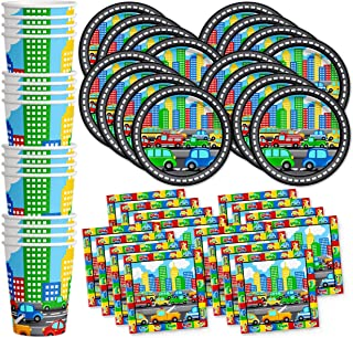Little Cars & Trucks Birthday Party Supplies Set Plates Napkins Cups Tableware Kit for 16