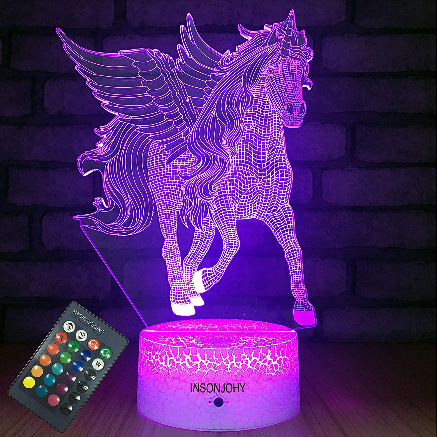 INSONJOHY Unicorn Gifts Night Light for Kids with Remote & Smart Touch 7 Colors + 16 Colors Changing Dimmable Unicorn Toys 6 8 3 6 5 9 4 10 Year Old Girl Boy Gifts (Unicorn)