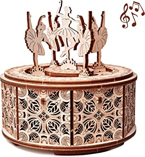 Wood Trick Dancing Ballerina Music Box Kit Swan Lake, DIY Wooden Musical Box Ballerina - 3D Wooden Puzzle, Assembly Toy, Brain Teaser for Adults and Kids
