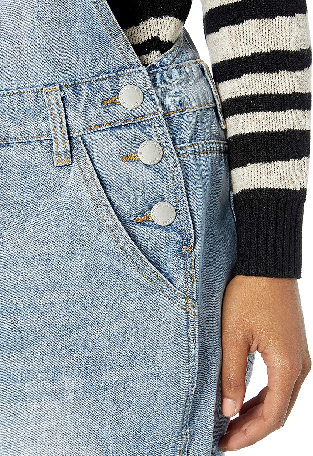 City Chic Womens Apparel Womens Plus Size Short Denim Overal with Buckle and Front Pocket Detail