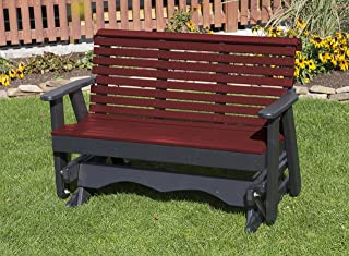 Ecommersify Inc 5FT-Cherrywood-Poly Lumber ROLL Back Porch Glider Heavy Duty Everlasting PolyTuf HDPE - Made in USA - Amish Crafted