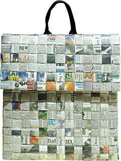 Backpack made from upcycled newspaper - FREE SHIPPING - recycled handmade unique organic handbags art back pack Fair trade ethical fun present presents inspiring alternative ideas functional beautiful