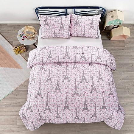 Fancy Linen Teens//Girls Comforter Set Paris Eiffel Tower Hearts Pink Grey New # Paris Full