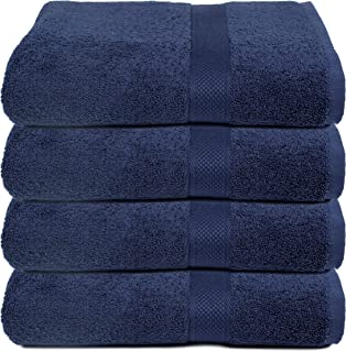 Ramanta Home Luxurious Cotton 4 Pack Bath Towel Set - 4 Bath Towels 30x54 inches - 100% Pure Long Staple Cotton - Ultra Soft & Highly Absorbent - Navy