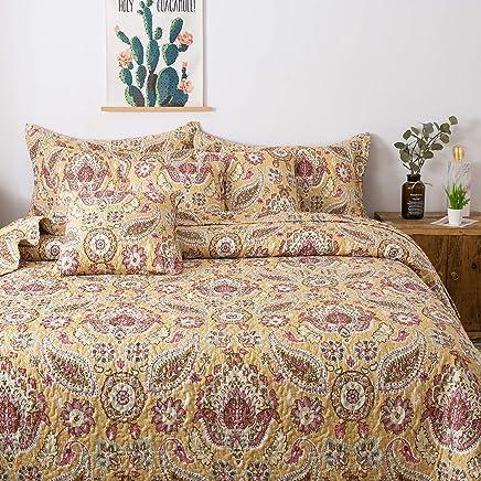 Tache Home Fashion SD3198-Cal King Tache 3 Piece Summer Gold Royal Medallion Reversible Bedspread Quilt Set California,  Multi