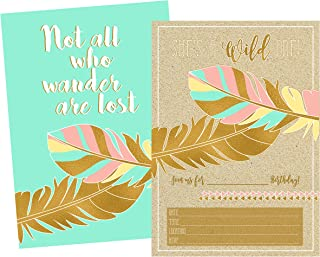 Silly Goose Gifts Gold Boho Themed Not All Who Wander are Lost Birthday Party Invitation for Girl (Set of 12)