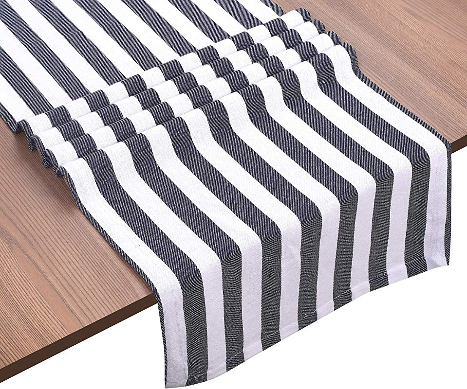 Ramanta Home Classic French Stripe 100 Cotton Table Runner 16x90 Tailored With Mitered Corner Navy