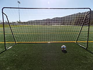 Vallerta 12 x 6 Ft. Powder Coated Galvanized Steel Soccer Goal w/Net. 12x6 Foot AYSO Regulation Size Portable Training Aid. Ultimate Backyard Goal, All Weather, One Year Warranty. New