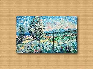 Contemporary and contemporary decorative canvas frame, living room, abstract original paintings like the Impressionists, hand made with oil on canvas by Puliafico, PUZZLE E PINO 6pz. 130X80cm