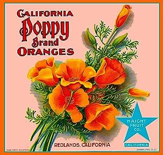 A SLICE IN TIME Redlands California Poppy Brand Flowers Orange Citrus Fruit Crate Box Label Art Print Travel Advertisement Poster
