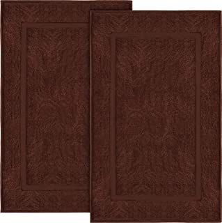 Utopia Towels Cotton Banded Bath Mats, 2 Pack (21 x 34 Inches), Dark Brown