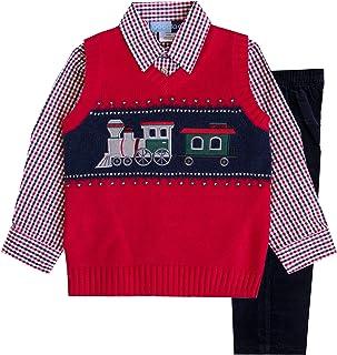 Sponsored Ad - Good Lad 2/7 Boys 3 Pc Red Train Motif Sweater Vest Set