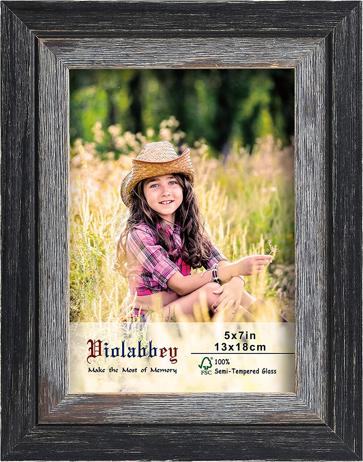Violabbey 5x7 Picture Frames, BlackD-grey Solid Wood Frame of R