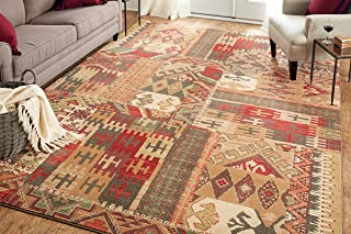 Mohawk Home Madison Louis And Clark Bark Brown Southwest Patchwork Woven Rug, 8'x11', Brown